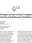 Strategies and Interventions for Math Disabilities